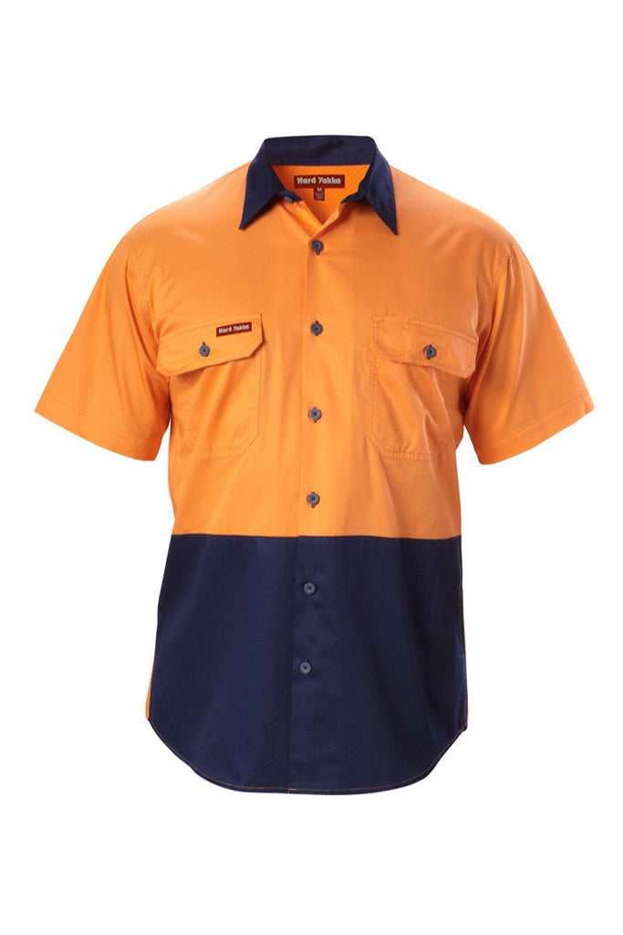 Hard Yakka Koolgear Hi-visibility Two Tone Cotton Twill Ventilated Shirt Short Sleeve (Y07559)