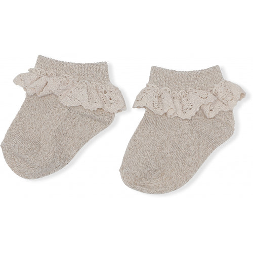 Lurex Lace Socks - Gold Vanilla (4409432277075)