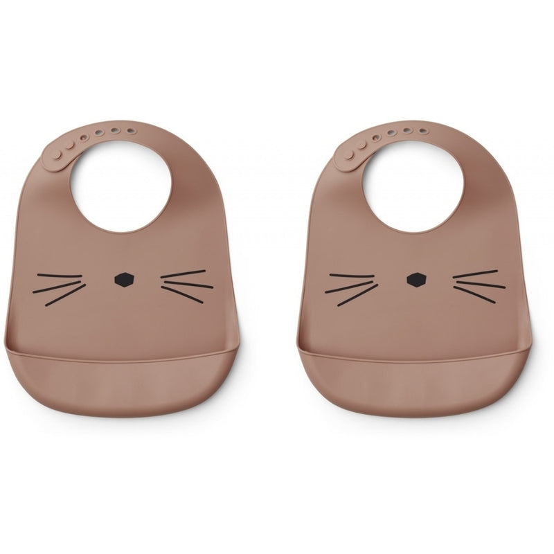 Tilda Silicone Bib - (2 Pack) - Cat Dark Rose (4472790155347)