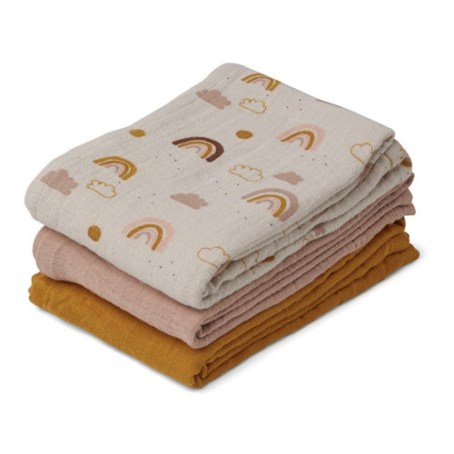 Line Muslin Cloth - (3 Pack) - Rainbow Love Mix (4473214435411)