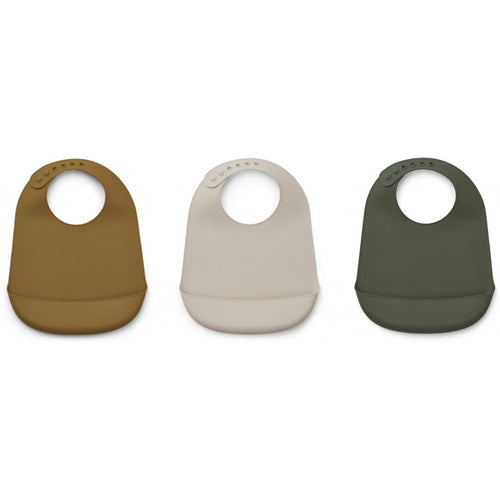 Maru Silicone Bib - 3 Pack - Hunter Green Multi Mix (4471805083731)