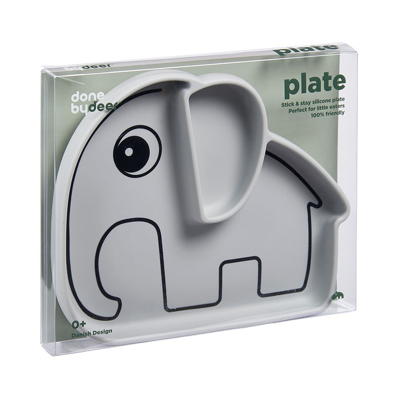 Silicone Stick & Stay Plate - Elphee Grey (4437555576915)