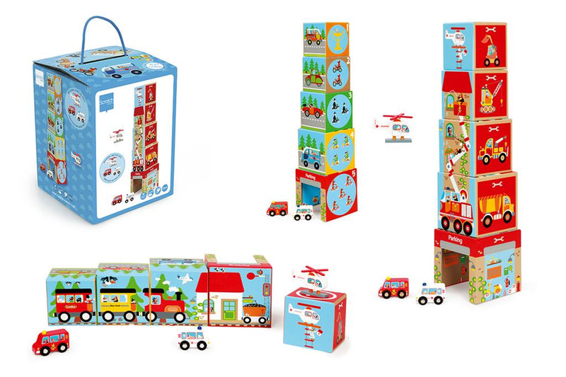 Stacking Towers - Cars & Helicopter (5 pcs) (4416400425043)