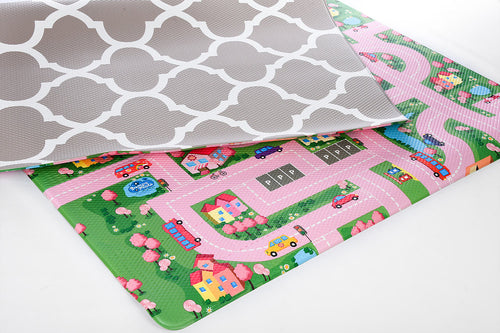 Reversible Play Mat - Beige Honeycomb/Pink Track