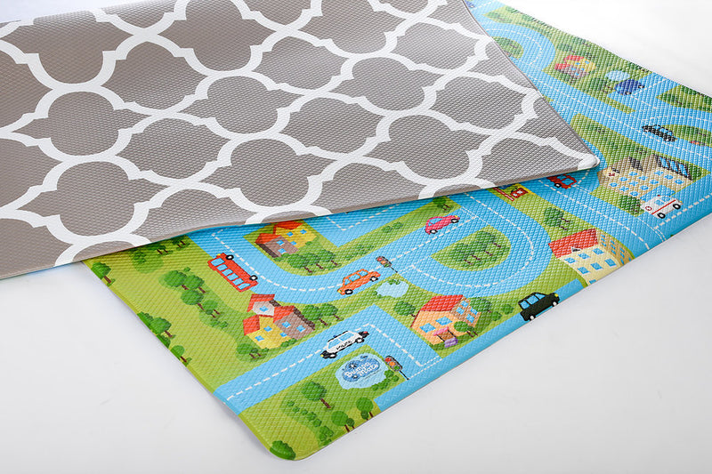 Reversible Play Mat - Beige Honeycomb/Blue Track (4335427387475)