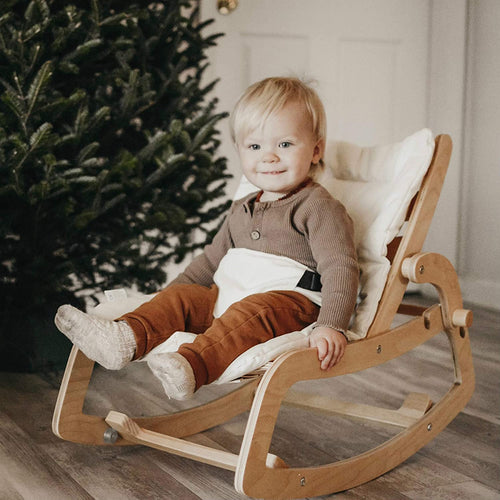 Multi Toddler Wooden Lounge Rocker with Cushion 3 in 1 Rocker Booster Seat Toddler Chair Natural Color (4727626924115)