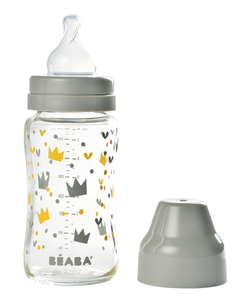 Wide Neck Glass Bottle 240 ml - Yellow/Grey Crown (4725973647443)