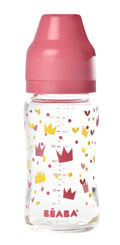 Wide Neck Glass Bottle 240 ml - Yellow/Pink Crown (4725974040659)
