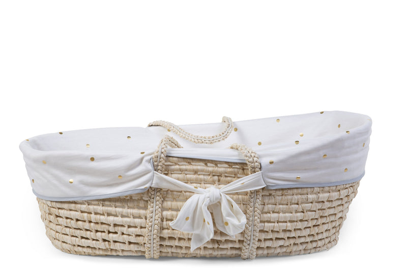 Moses Basket - Cover - Gold Dots (4680825176147)