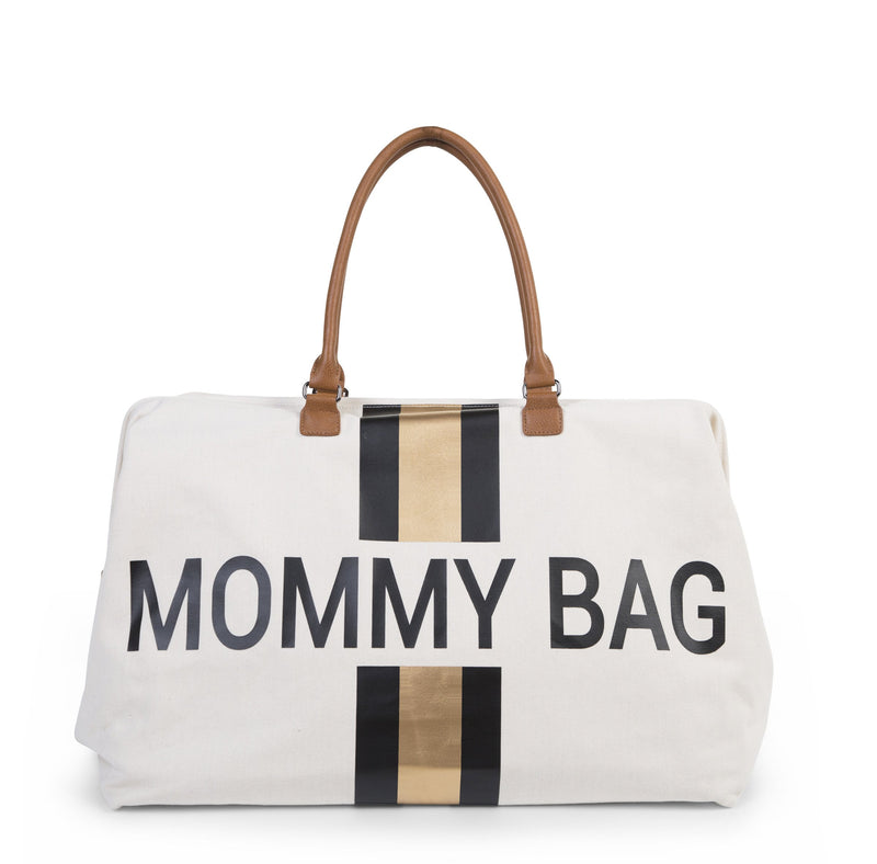 Mommy Bag Big - Off White Stripes Black/Gold (4680816984147)