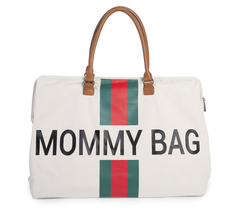 Mommy Bag Big - Off White Stripes Green/Red (4680817508435)