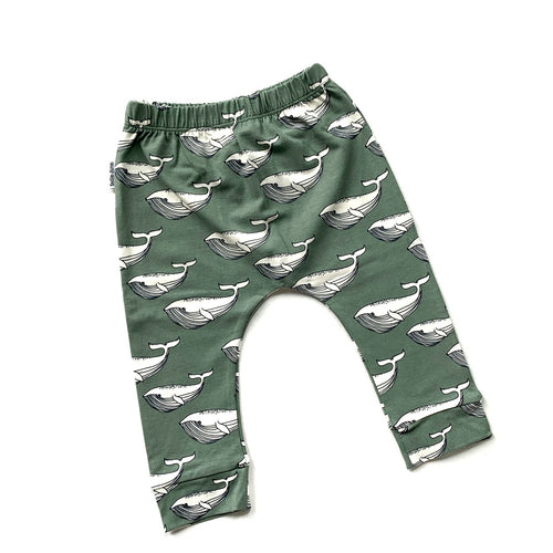Whales Leggings - Olive (4414839947347)