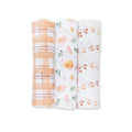 3-Pack Cotton Swaddles - Beige Birds (4384861585491)