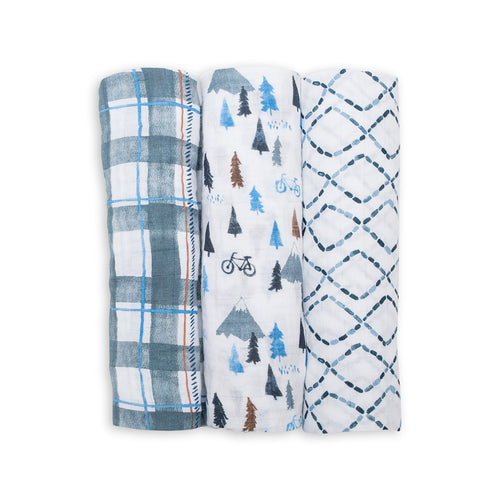 3-Pack Cotton Swaddles - Navy Mountain (4384863322195)