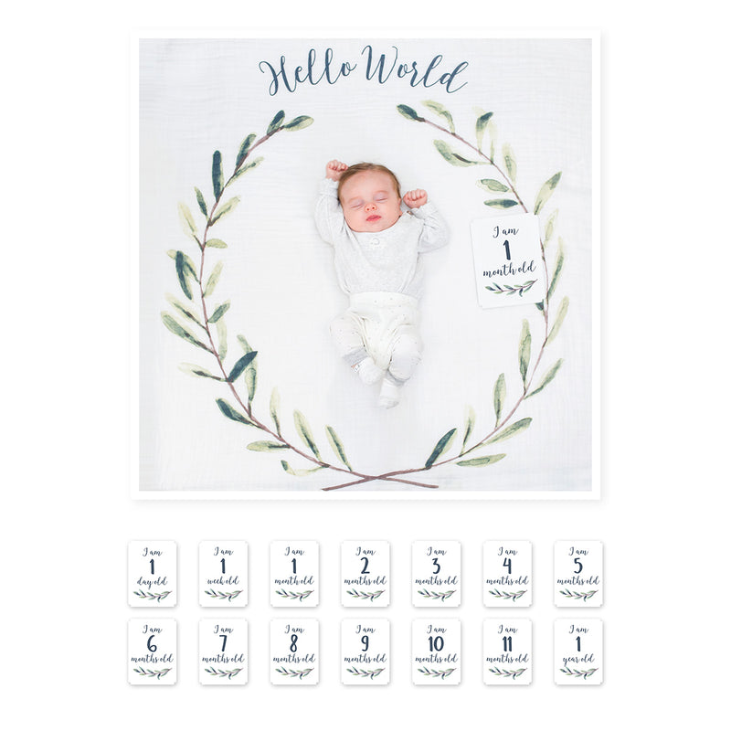Baby's First Year Blanket & Card Set - Hello World (4410719797331)