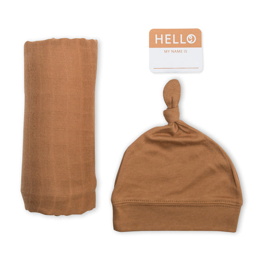 Hello World Swaddle & Hat Set - Tan (4369267785811)