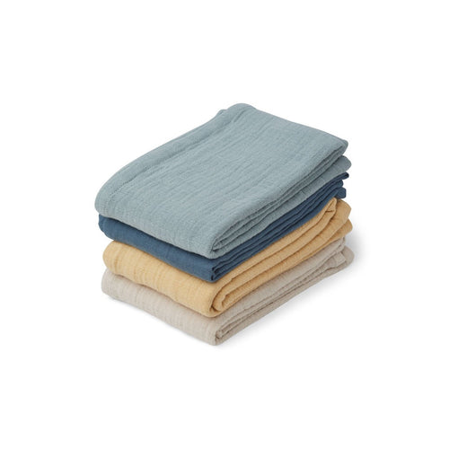 Leon Muslin Cloth - 4 Pack - Blue mix (4442124255315)