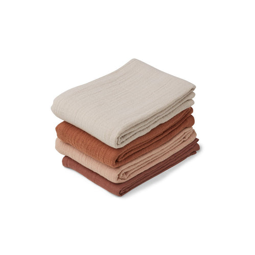 Leon Muslin Cloth - 4 Pack - Rose mix (4442128285779)