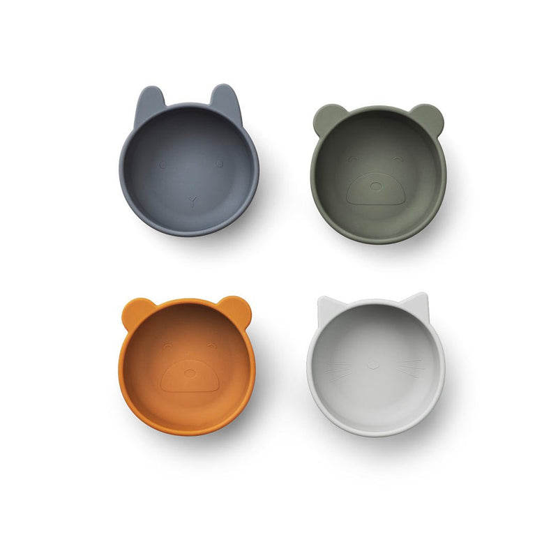 Iggy Silicone Bowls - 4 - Pack/ Blue Mix (4471824416851)