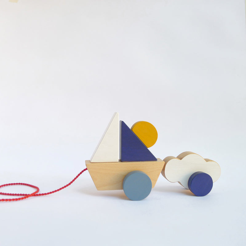 NEW! Boat & Cloud - Wooden Pull Toy for Toddlers