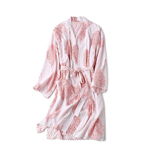 Adult Reversible Organic Cotton Robe - Pink City