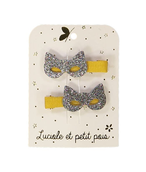 NEW! Yellow Cat Masks Hair Clips- Set of 2 (3478655172691)