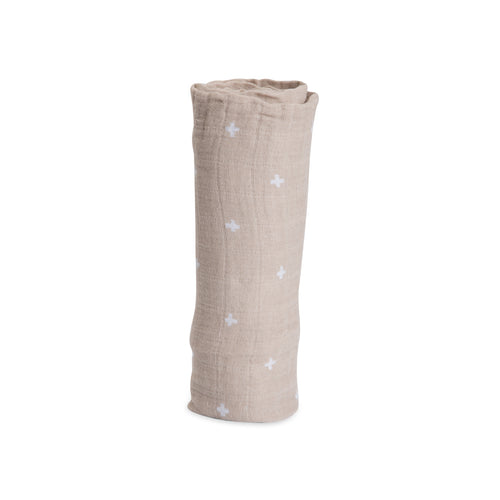 Cotton Muslin Single Swaddle - Taupe Cross
