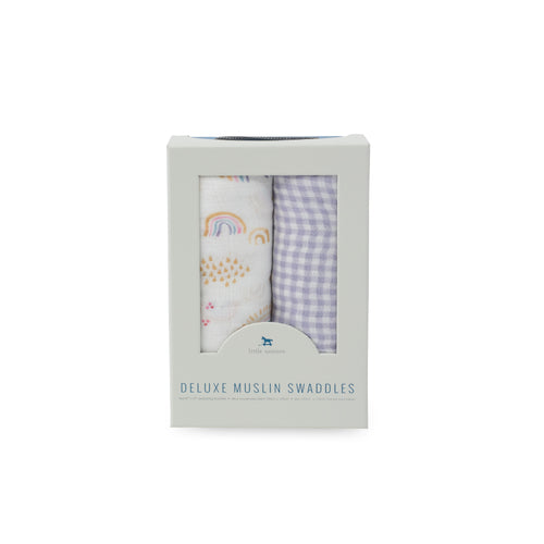 2 Pack Deluxe Muslin Swaddle - Rainbow Gingham