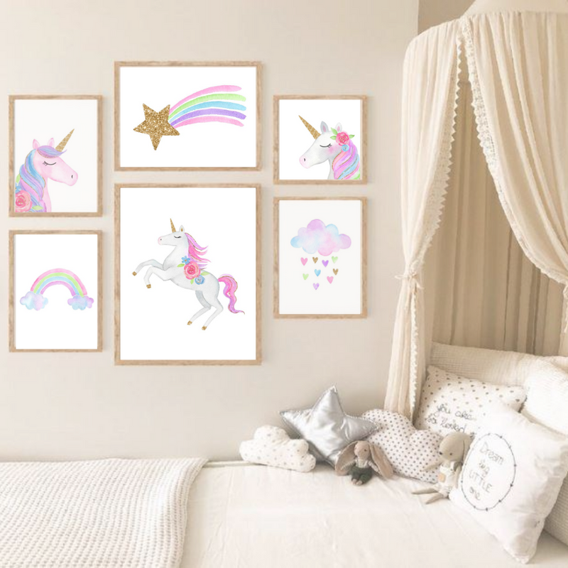 Watercolour Unicorn & CloudWall Art Print - Set of 6 (4708227088467)