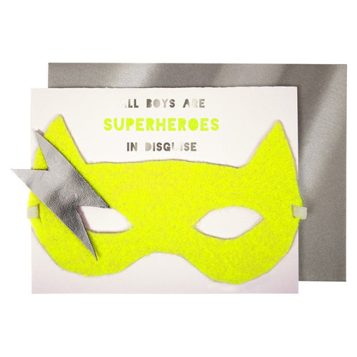 Boy Superhero Birthday Card with Mask