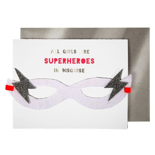 Girl Superhero Birthday Card with Mask