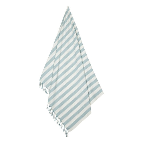 Mona Beach Towel - Stripe: Sea Blue/Creme De La Creme (4442991198291)