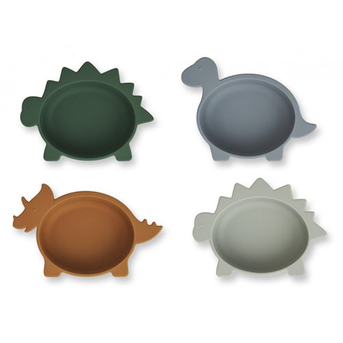 Iggy Silicone Bowls - 4 Pack Dino / Blue Multi Mix (4739776708691)