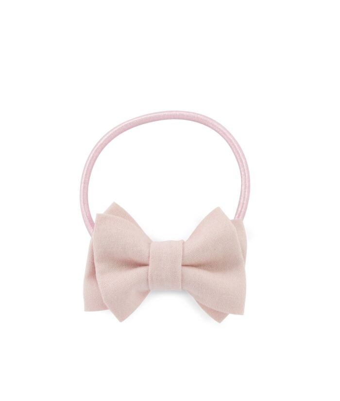 NEW! Mini Double Bow Elastic - Blush Pink