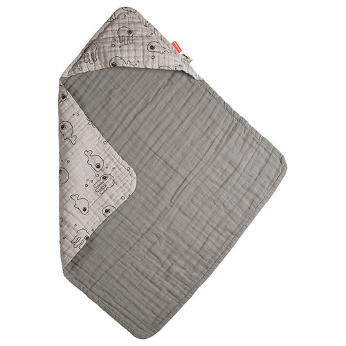 Hooded towel Sea friends - Grey (4697904578643)