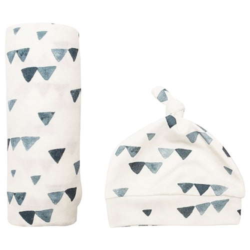 Hello World Swaddle & Hat Set - Navy Triangles (4737375371347)