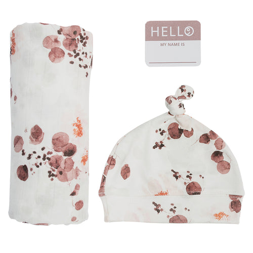 Hello World Swaddle & Hat Set - Eucalyptus (4737374060627)