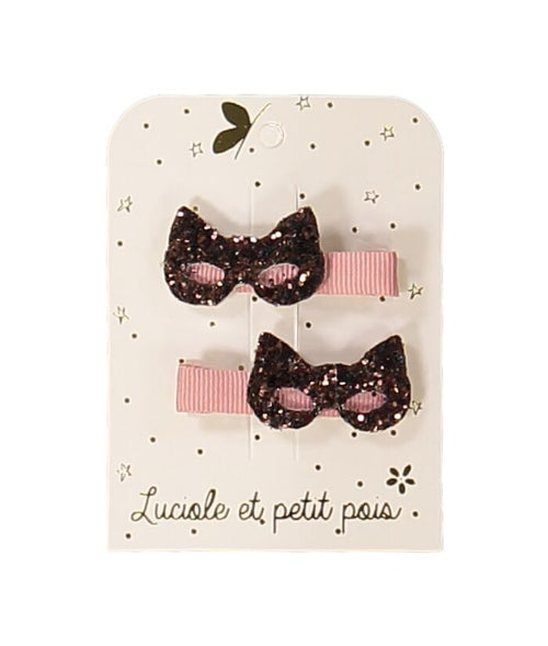 NEW! Pink Cat Masks Hair Clips- Set of 2 (3478654386259)