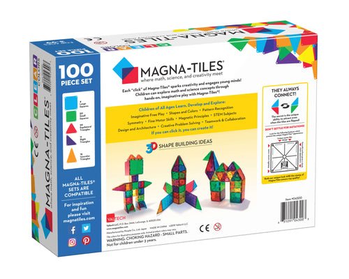 Magna-Tiles® Clear Colors 100 Piece Set (4438460399699)