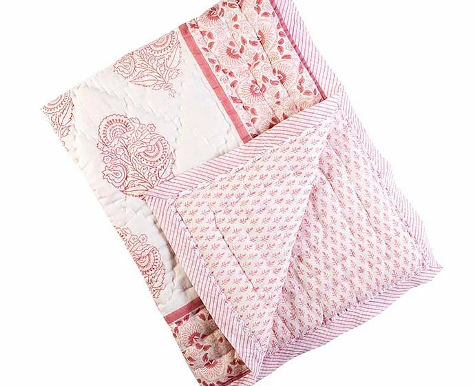 Organic Cotton Cotbed Quilt - Pink City (4604512141395)