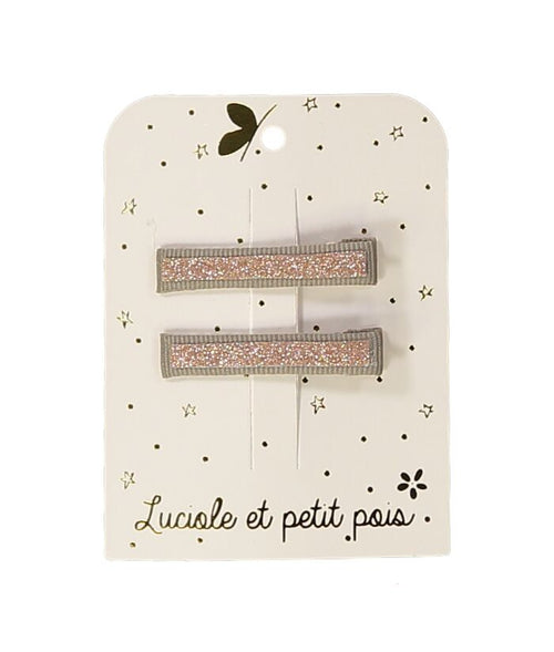 NEW! Pink Glitter Hair Clip - Set of 2 (3478650749011)