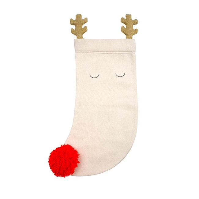 Knitted Reindeer Stocking