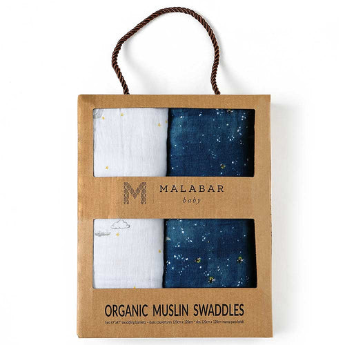 Organic Cotton Muslin Swaddles - Twin Pack - Starry Night (4439296245843)
