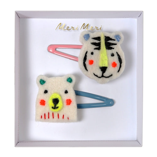 Embroidered Bear & Tiger Hair Clips (4354422767699)