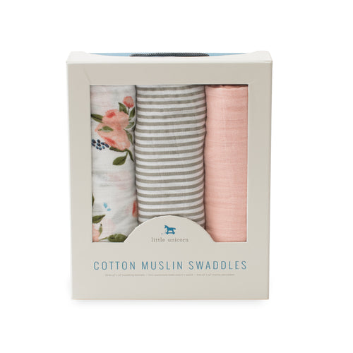 3 Pack Cotton Muslin Swaddle Set - Watercolor Roses