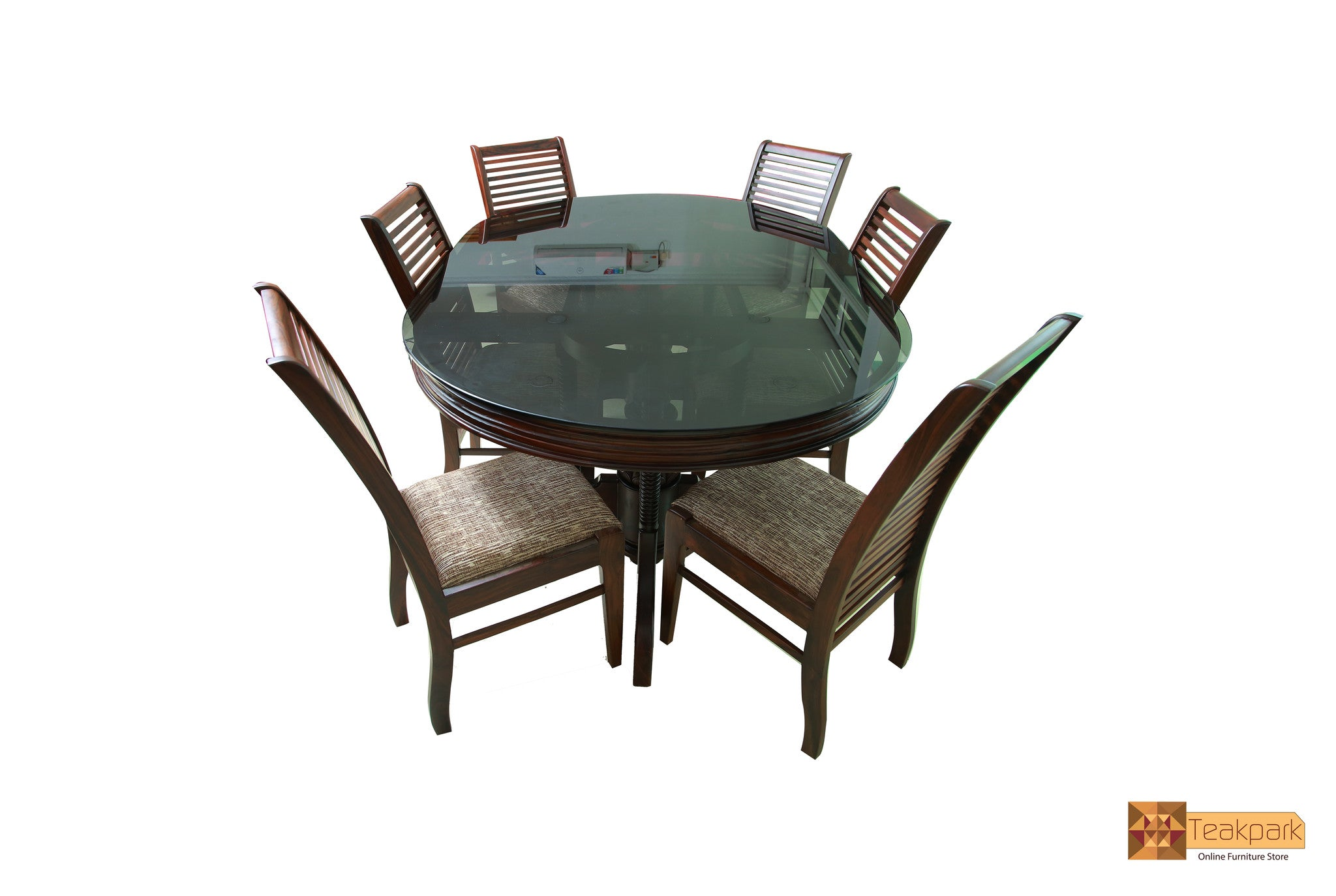 Danube Oval Solid Rosewood Dining Set   Glass Top Table with ...