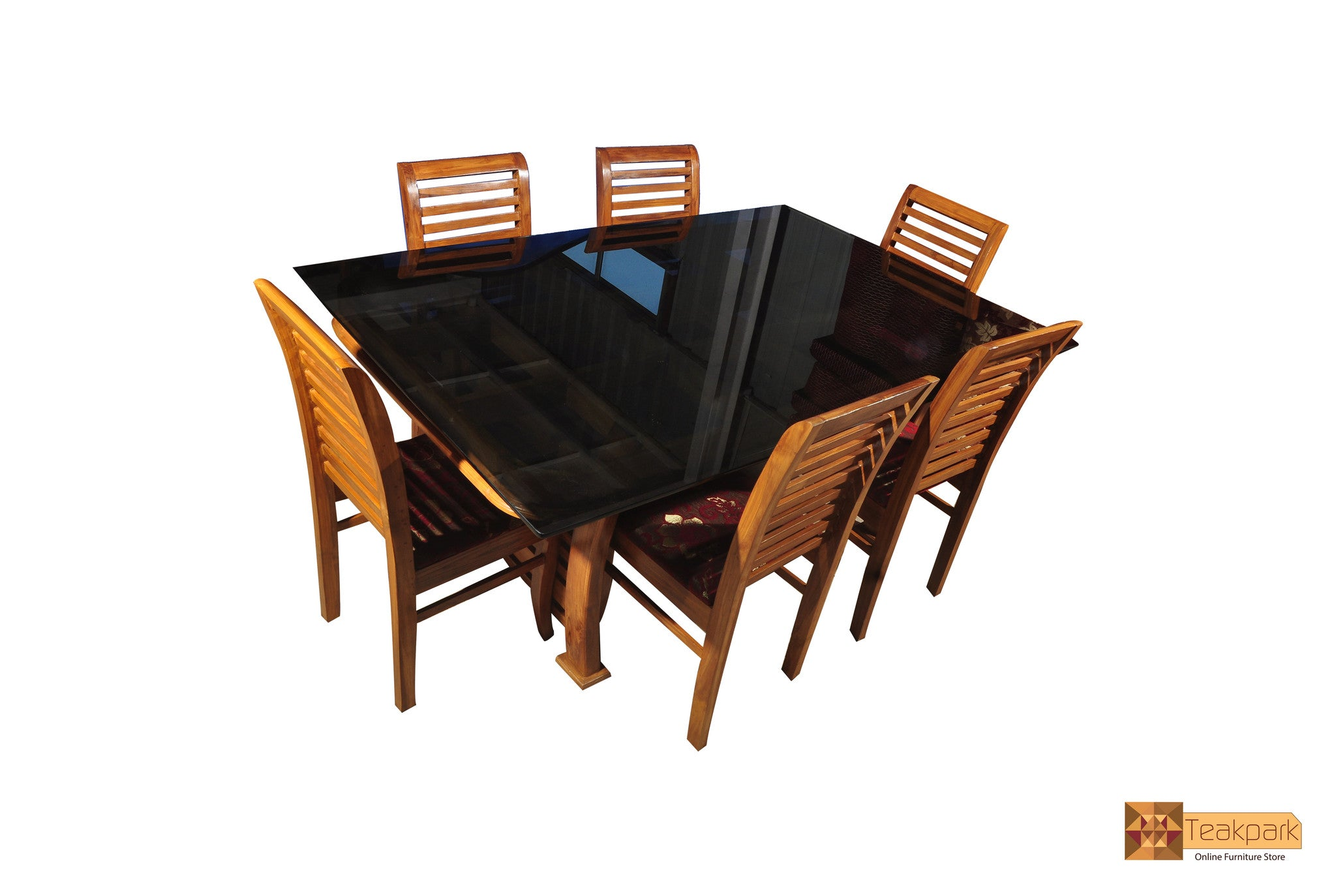 Colorado Solid Teak Wood Dining Set Glass Top Table With 6 Chairs Teakpark