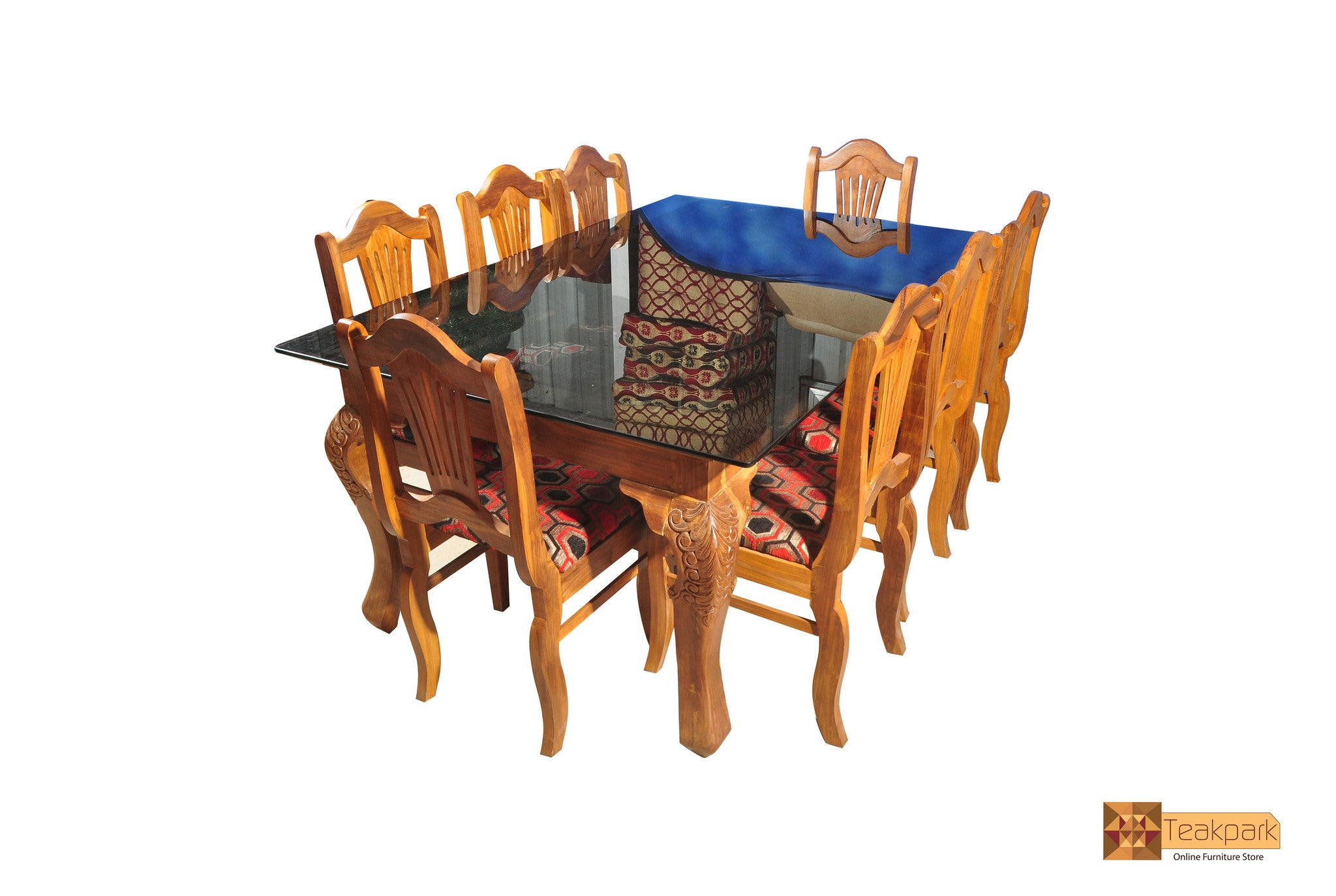 Kaveri Teak Wood Dining Set Glass Top Table With 8 Chairs Teakpark