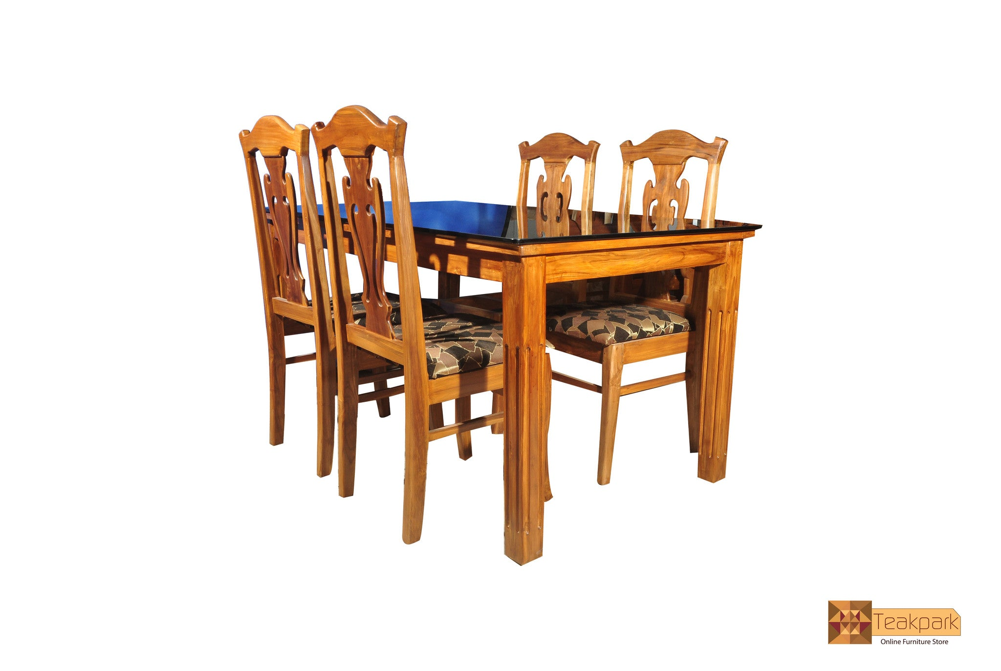 Periyar Teak Wood Dining Set Glass Top Table With Chairs Teakpark