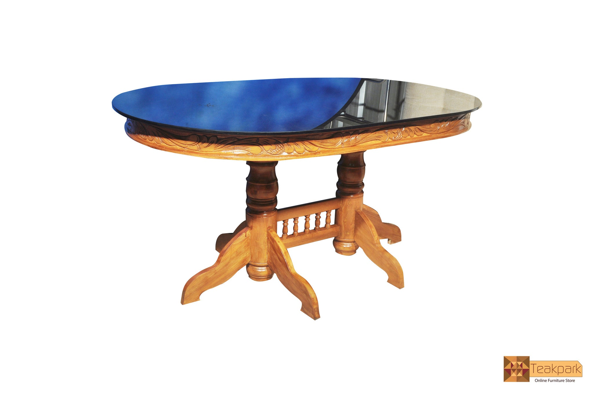 Ganga Oval Teak Wood Dining Table With Glass Top Table